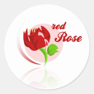 Red foes flower round sticker