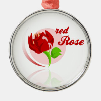 Red foes flower Silver-Colored round ornament