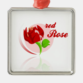 Red foes flower Silver-Colored square ornament