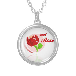 Red foes flower silver plated necklace