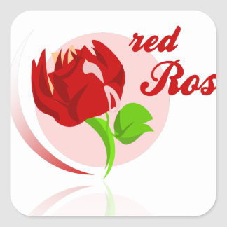 Red foes flower square sticker
