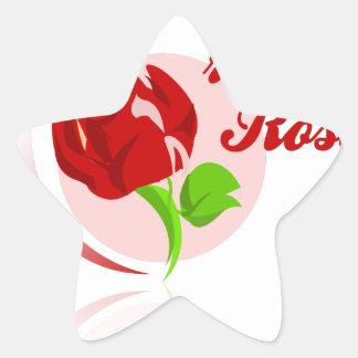 Red foes flower star sticker