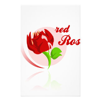 Red foes flower stationery