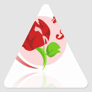 Red foes flower triangle sticker