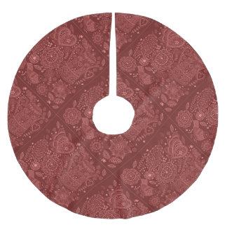 Red Folk Art Doodles Brushed Polyester Tree Skirt
