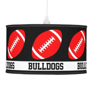 Red Football Custom Team Name & Color Sports Bar Pendant Lamp