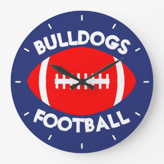 Red Football Custom Team Name/Text and Color Clock