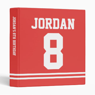 Red Football Jersey - Sports Theme Birthday Party 3 Ring Binder