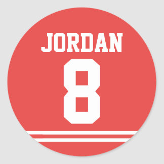 Red Football Jersey - Sports Theme Birthday Party Classic Round Sticker