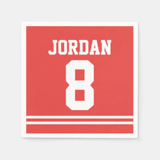 Red Football Jersey - Sports Theme Birthday Party Disposable Napkin