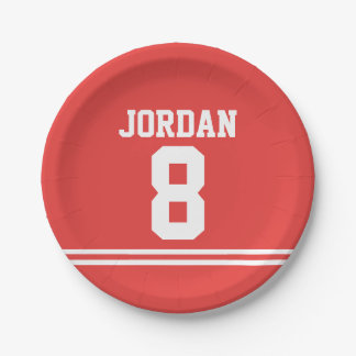Red Football Jersey - Sports Theme Birthday Party Paper Plate