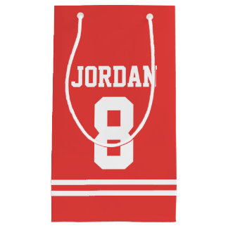 Red Football Jersey - Sports Theme Birthday Party Small Gift Bag