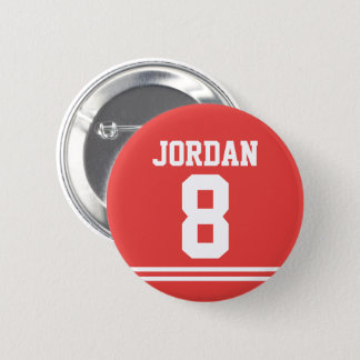 Red Football Jersey with Custom Name and Number 2 Inch Round Button
