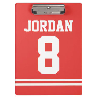 Red Football Jersey with Custom Name and Number Clipboard