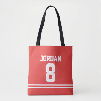 Red Football Jersey with Custom Name and Number Tote Bag