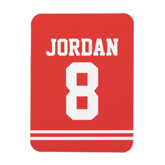 Red Football Jersey with Number Magnet