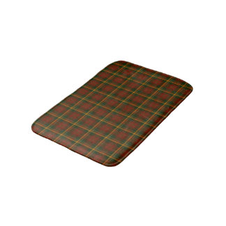 Red, Forest Green, and Yellow Gold Plaid Pattern Bath Mat