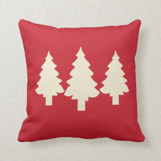Red Forest Trees Throw Pillow