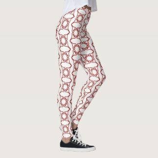 Red Four Hearts Flower Pattern Leggings