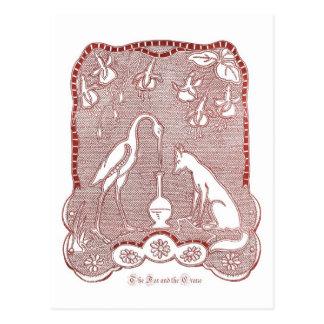 Red fox and crane postcard
