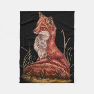 Red Fox Animal Art Drawing What the fox say?! Fleece Blanket