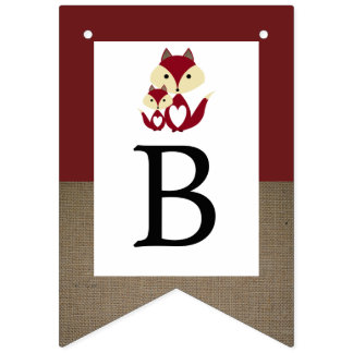 Red Fox Burlap Baby Shower Bunting Flags