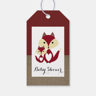 Red Fox Burlap Baby Shower Gift Tags