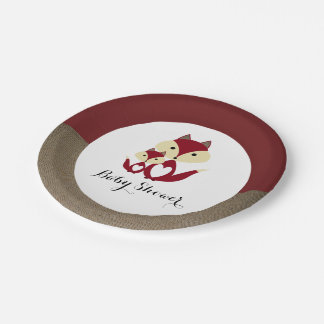Red Fox Burlap Baby Shower Paper Plate