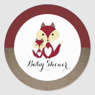 Red Fox Burlap Baby Shower Round Sticker