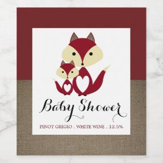 Red Fox Burlap Baby Shower Wine Label