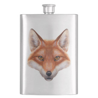 Red Fox Face Classic Flask