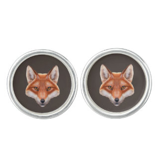 Red Fox Face Cufflinks
