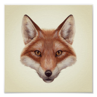 Red Fox Face Mini Poster