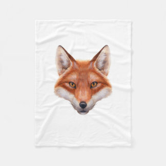 Red Fox Face Small Fleece Blanket