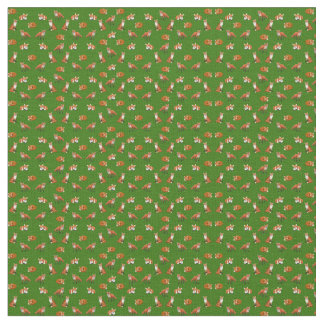 Red Fox Family Combed Cotton Fabric Olive
