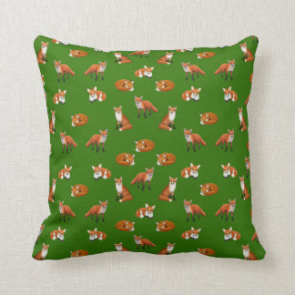 Red Fox Family Throw Pillow Olive