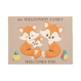 Red Fox Family Welcome Doormat