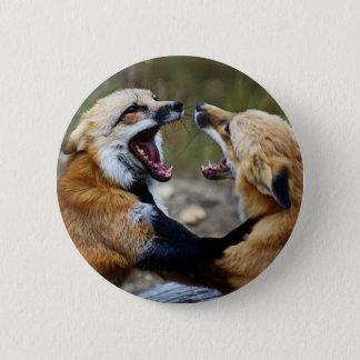 Red Fox Fight 2 Inch Round Button