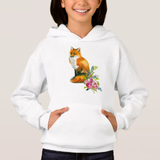 Red Fox & Floral Girl's Hooded Top T-Shirt