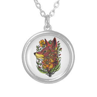 Red Fox, Floral Print, Gift Silver Plated Necklace