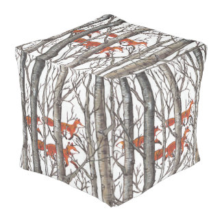 Red Fox Foxes in Gray Woods Designer Footrest Pouf