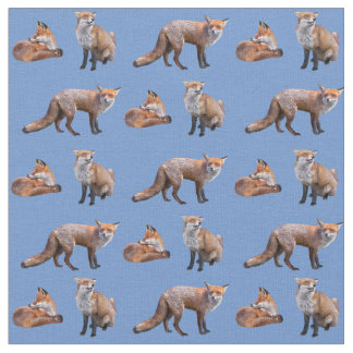 Red Fox Frenzy Fabric (Light Blue)