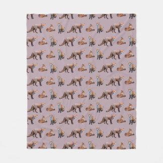 Red Fox Frenzy Fleece Blanket (Pink)