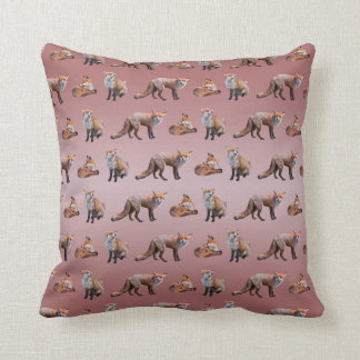 Red Fox Frenzy Pillow (Dusty Pink Mix)