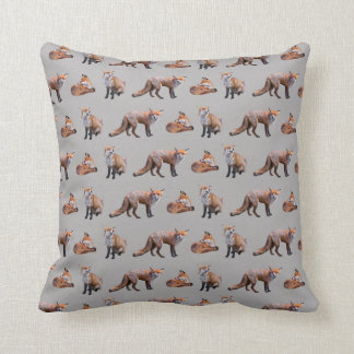 Red Fox Frenzy Pillow (Grey)