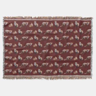 Red Fox Frenzy Throw Blanket (Burgundy)