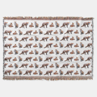 Red Fox Frenzy Throw Blanket (Choose Colour)