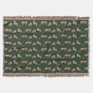 Red Fox Frenzy Throw Blanket (Dark Green)