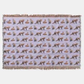 Red Fox Frenzy Throw Blanket (Lilac)