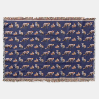 Red Fox Frenzy Throw Blanket (Navy)